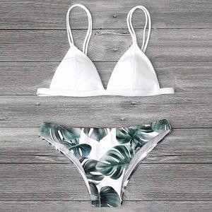 Other - White Triangle Leaf Print Bikini Set